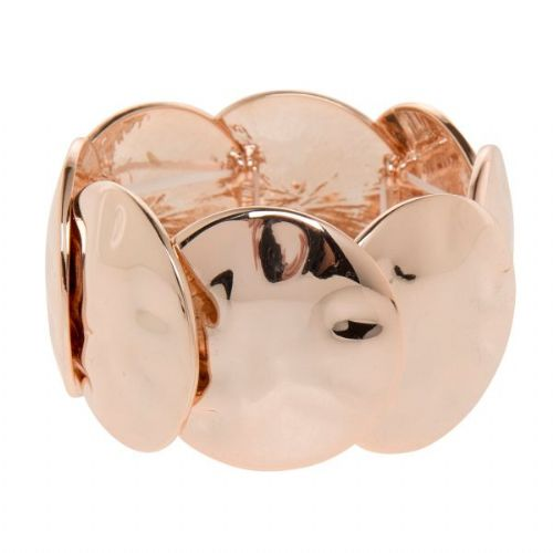 Large Rose Gold Elasticated Bangle with Large Circles